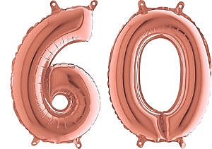 Luftballon Zahl 60 Zahlenballon rosegold (66 cm)