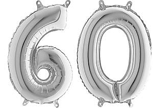Luftballon Zahl 60 Zahlenballon silber (66 cm)