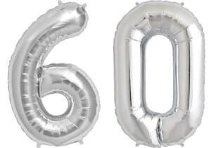Luftballon Zahl 60 Zahlenballon silber (86 cm)
