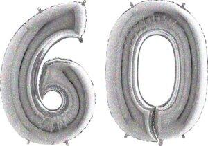 Luftballon Zahl 60 Zahlenballon silber-holographic (100 cm)