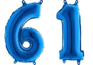 Luftballon Zahl 61 Zahlenballon blau (66 cm)