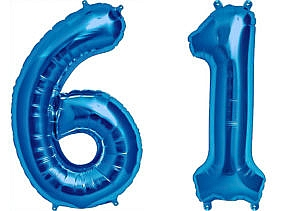 Luftballon Zahl 61 Zahlenballon blau (86 cm)