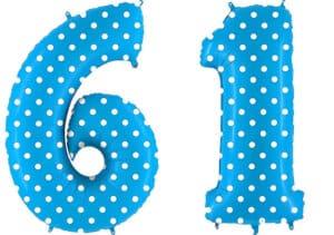 Luftballon Zahl 61 Zahlenballon blau mit weißen Punkten (100 cm)
