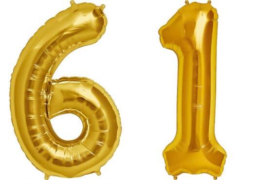 Luftballon Zahl 61 Zahlenballon gold (86 cm)