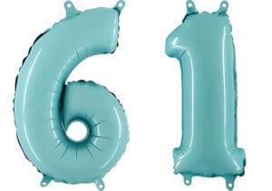 Luftballon Zahl 61 Zahlenballon pastell-blau (100 cm)