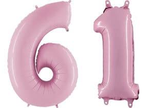 Luftballon Zahl 61 Zahlenballon pastell-pink (100 cm)