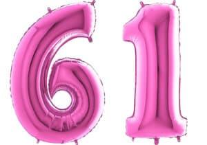 Luftballon Zahl 61 Zahlenballon pink (66 cm)