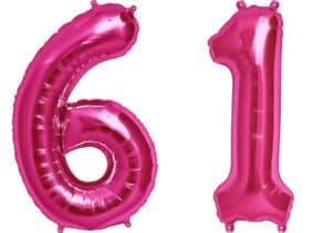 Luftballon Zahl 61 Zahlenballon pink (86 cm)