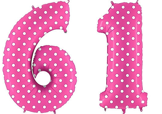 Luftballon Zahl 61 Zahlenballon pink mit weißen Punkten (100 cm)