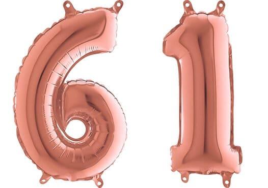 Luftballon Zahl 61 Zahlenballon rosegold (66 cm)