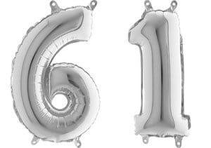 Luftballon Zahl 61 Zahlenballon silber (66 cm)
