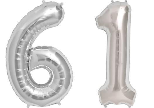Luftballon Zahl 61 Zahlenballon silber (86 cm)