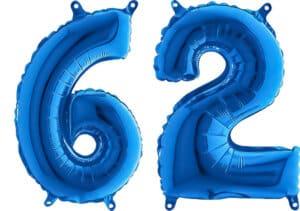 Luftballon Zahl 62 Zahlenballon blau (66 cm)