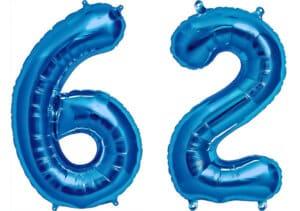 Luftballon Zahl 62 Zahlenballon blau (86 cm)