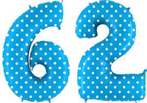 Luftballon Zahl 62 Zahlenballon blau mit weißen Punkten (100 cm)