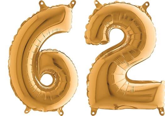 Luftballon Zahl 62 Zahlenballon gold (66 cm)