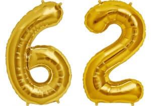 Luftballon Zahl 62 Zahlenballon gold (86 cm)