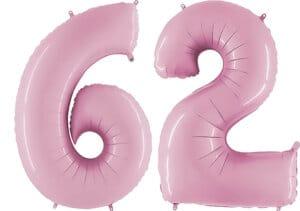Luftballon Zahl 62 Zahlenballon pastell-pink (100 cm)