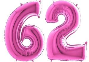 Luftballon Zahl 62 Zahlenballon pink (66 cm)