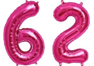 Luftballon Zahl 62 Zahlenballon pink (86 cm)
