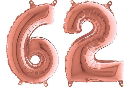 Luftballon Zahl 62 Zahlenballon rosegold (66 cm)