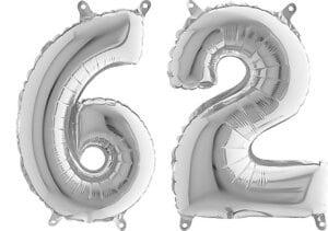 Luftballon Zahl 62 Zahlenballon silber (66 cm)