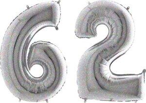 Luftballon Zahl 62 Zahlenballon silber-holographic (100 cm)