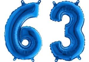 Luftballon Zahl 63 Zahlenballon blau (66 cm)