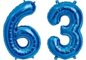 Luftballon Zahl 63 Zahlenballon blau (86 cm)