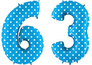 Luftballon Zahl 63 Zahlenballon blau mit weißen Punkten (100 cm)
