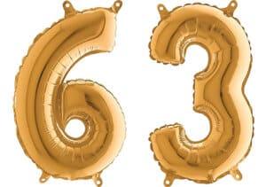 Luftballon Zahl 63 Zahlenballon gold (66 cm)