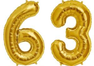 Luftballon Zahl 63 Zahlenballon gold (86 cm)