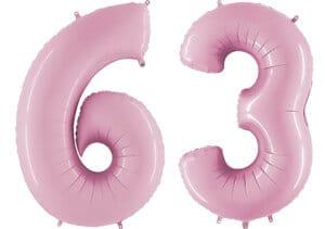 Luftballon Zahl 63 Zahlenballon pastell-pink (100 cm)