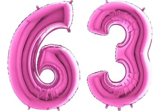 Luftballon Zahl 63 Zahlenballon pink (66 cm)