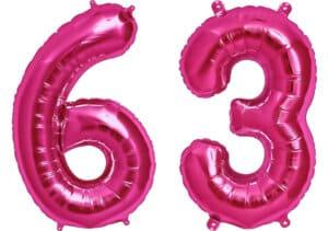 Luftballon Zahl 63 Zahlenballon pink (86 cm)