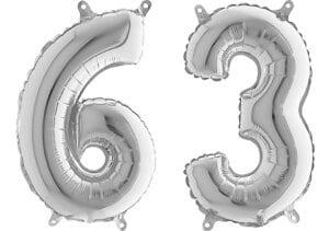 Luftballon Zahl 63 Zahlenballon silber (66 cm)