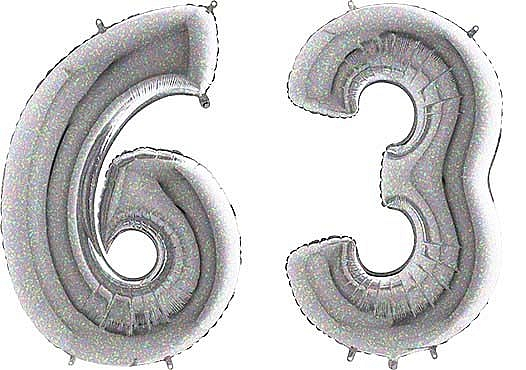 Luftballon Zahl 63 Zahlenballon silber-holographic (100 cm)