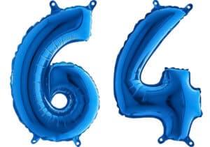Luftballon Zahl 64 Zahlenballon blau (66 cm)