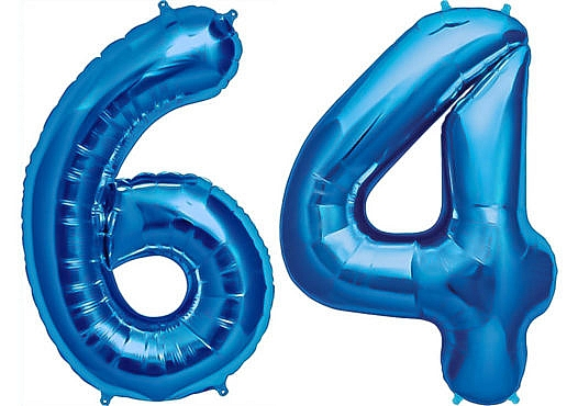 Luftballon Zahl 64 Zahlenballon blau (86 cm)