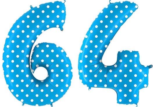 Luftballon Zahl 64 Zahlenballon blau mit weißen Punkten (100 cm)