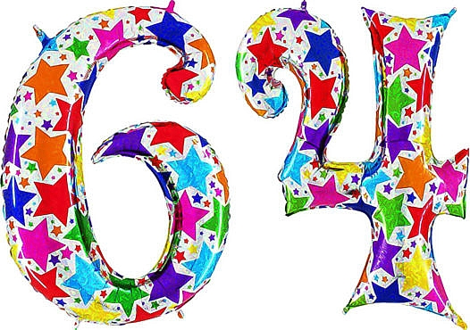 Luftballon Zahl 64 Zahlenballon silber mit bunten Sternen (100 cm)