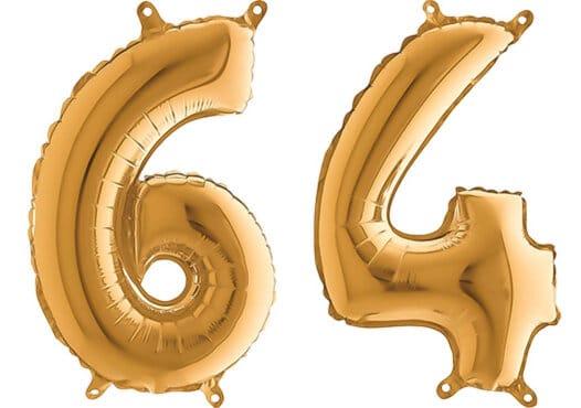 Luftballon Zahl 64 Zahlenballon gold (66 cm)