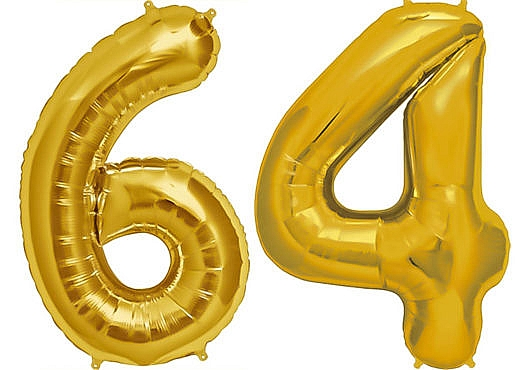 Luftballon Zahl 64 Zahlenballon gold (86 cm)