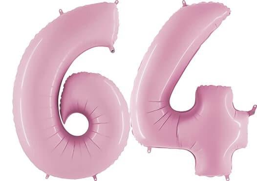 Luftballon Zahl 64 Zahlenballon pastell-pink (100 cm)