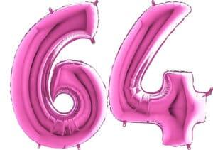 Luftballon Zahl 64 Zahlenballon pink (66 cm)