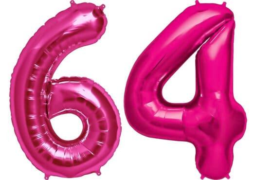 Luftballon Zahl 64 Zahlenballon pink (86 cm)