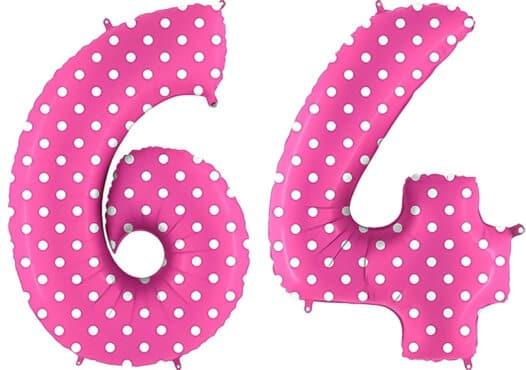 Luftballon Zahl 64 Zahlenballon pink mit weißen Punkten (100 cm)