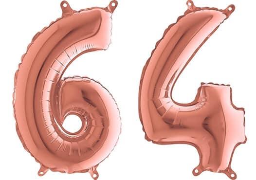 Luftballon Zahl 64 Zahlenballon rosegold (66 cm)