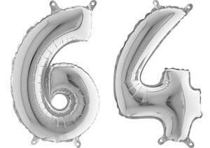 Luftballon Zahl 64 Zahlenballon silber (66 cm)