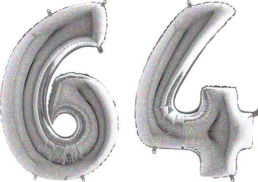 Luftballon Zahl 64 Zahlenballon silber-holographic (100 cm)